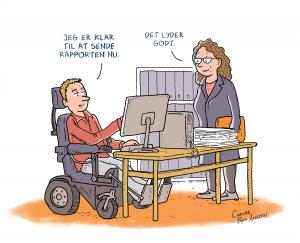 Bladtegning af handicappet på job. Lavet til Videncenter for Arbejdsmiljø af Christer Bøgh Andersen.
