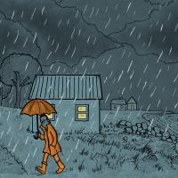 Regnfuld aften - tegning af Christer Bøgh Andersen
