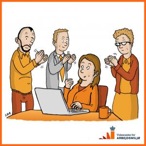 Illustration af klappende kolleger til facebooksiden for 'Fra stress til trivsel' af tegner Christer Bøgh Andersen