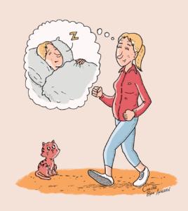 Tegning af kvinde på gåtur