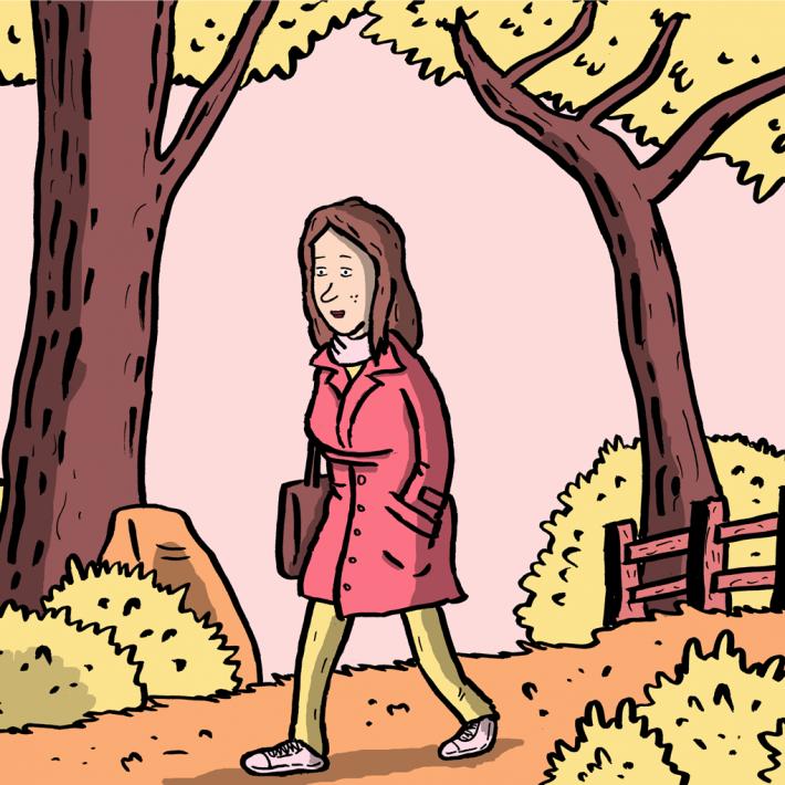 Kvinde i skoven - tegning af Christer Bøgh Andersen
