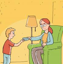 Tegning af barn, der får lommepenge. Til Center for Familiepleje
