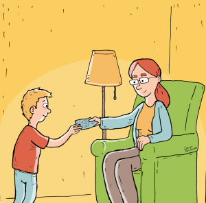 Tegning til sociale medier af barn, der får lommepenge. Til Center for Familiepleje