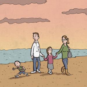 Familie på strand. Tegning til sociale medier, lavet til Center for Familieplejes Facebook-side.
