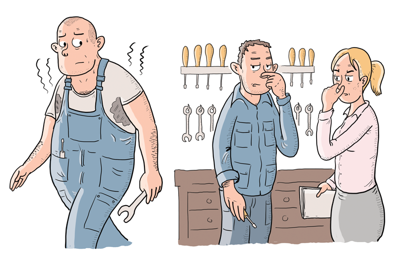 Mobning på arbejdspladsen. Mandlig mekaniker lugter af sved og to kolleger holder sig for næsen. Tegning af Christer Bøgh Andersen.