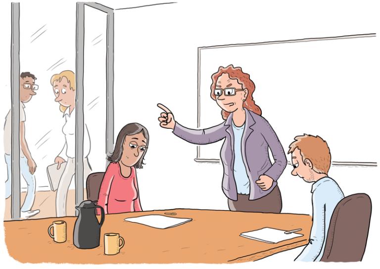 Leder skælder to medarbejdere ud foran deres kolleger. Tegning af Christer Bøgh Andersen
